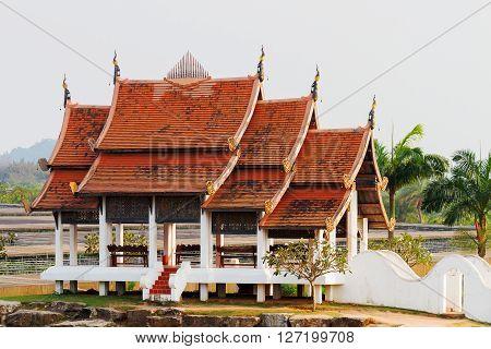 Nong Nooch Tropical Garden in Pattaya Thailand. Asian pagoda.