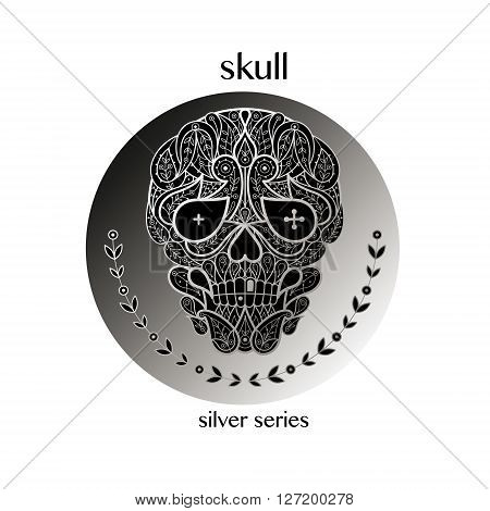 Dead Head. Vector skull icon in a circle. Concept image of decorative skull. Modern trend - linear design. Illustration skull logo sign symbol object of nature. Series black white and silver.