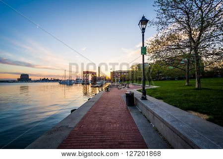 Walkway On The Waterfront At Sunset, In Canton, Baltimore, Maryland.