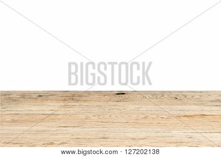 Vintage brown oak table closeup isolated on white background