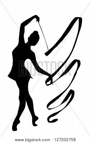 Professional Gymnast With Ribbon