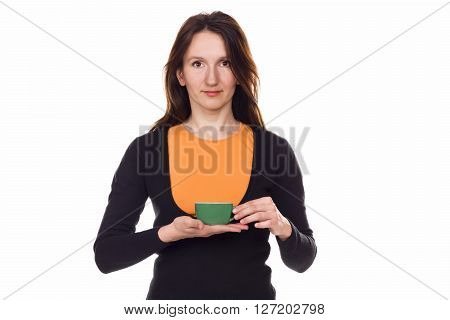 Beautiful Red-haired Young Woman With Cup Of Tea