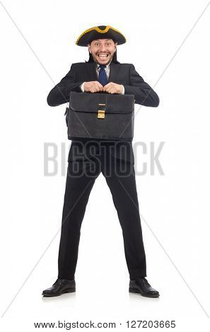 Businessman with tricorn and briefcase isolated on white