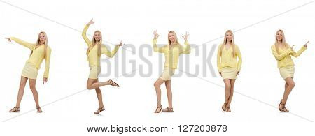 Collage of woman isolated on white