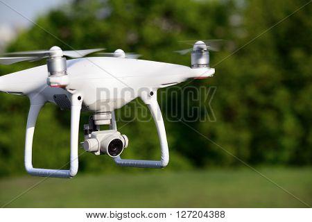 Kiev, Ukraine, April 24, 2016. DJI Phantom 4 drone test drive.