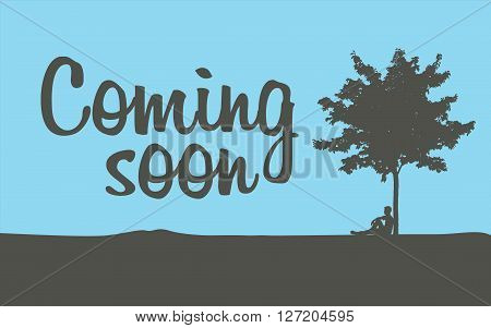 Coming soon temporary banner page, vector illustration