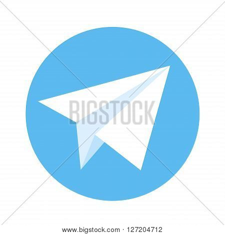 Icon of paper plane. White paper plane on a blue background. Vector illustration