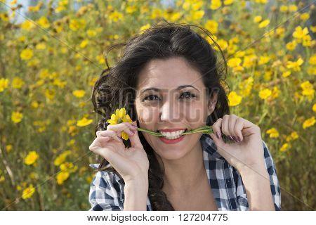 Nice Girl Bites A Daisy