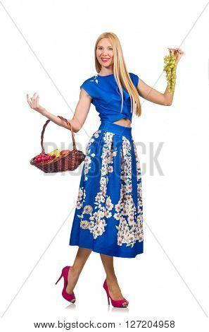 Woman holding fruit basket isolated on white