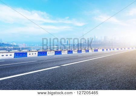 chongqing highway under blue sky, china.