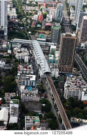 BANGKOK, THAILAND - DECEMBER 23: Bird eye view of Traffic on December 23, 20 13 in Bangkok.