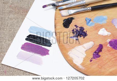 Oil Paints On The Palette