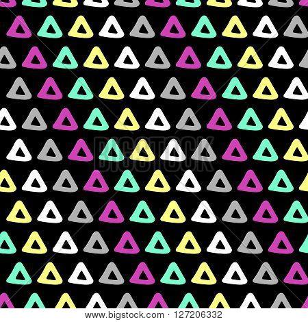 Abstract geometric 90s fashion style seamless pattern. Vector illustration. Dark triangular background.