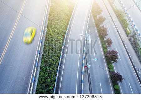 aerial view of traffic on shanghai overpass on a sunny day.