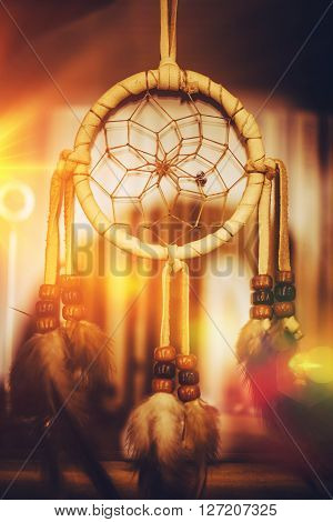 Native American  Dreamcatcher Closeup Photo. North American Indians Art.