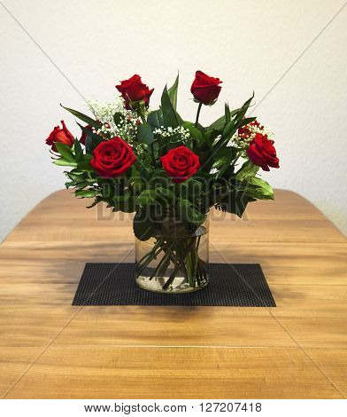 Red roses bouquet - flowers of love - with text / copy space.