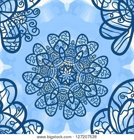Seamless mandala-like elegant ornate pattern on blue symmetrical watercolor texture, indian, ottoman, asian motifs.