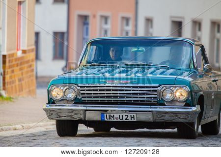 ALTENTREPTOW - MECKLENBURG - GERMANY - MAY 2015: american chevrolet car on an oldtimer show in altentreptow germany at may 2015.