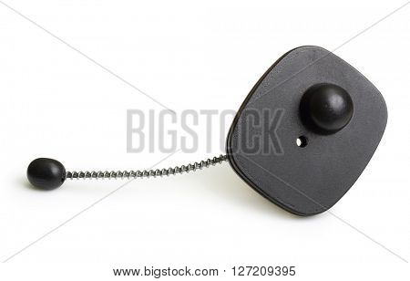 Black clothing security tag isolated on white background