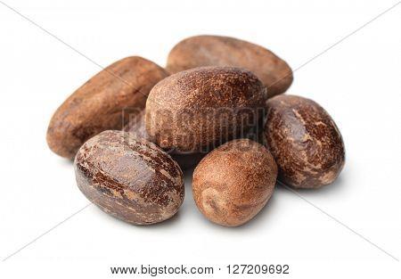 Nutmeg seeds  isolated on white