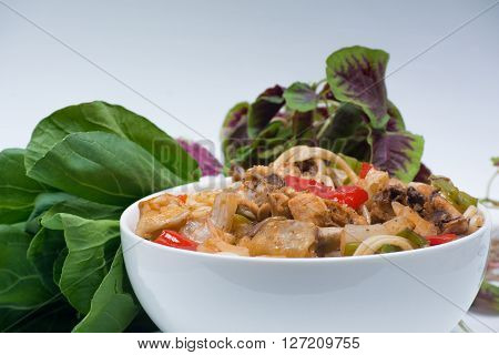 Chinese boiled noodles with a chicken and vegetables