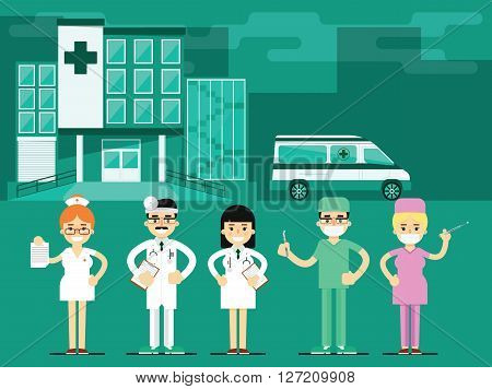 Health workers in the hospital background. Miscellaneous medical characters. Doctor a nurse. Medical staff.