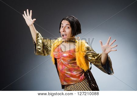 Young man in funny concept