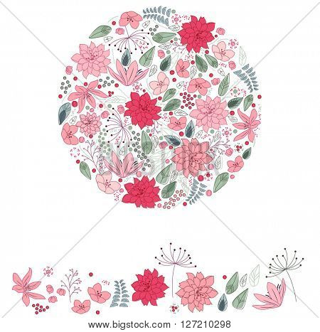 Stylized round template with cute pink and red flowers. Floral spring pattern for romantic and easter design, wedding announcements, greeting cards, posters, advertisement.