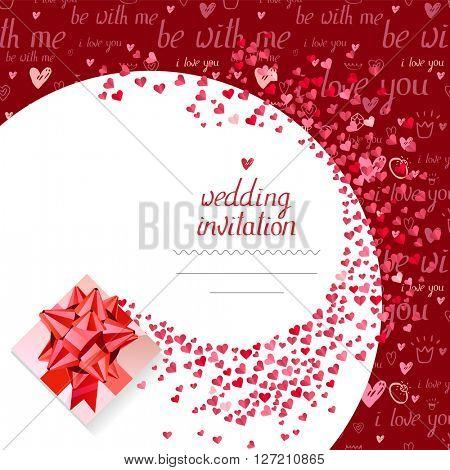 Templates with gift box and small hearts.  Phrase Wedding invitation.   Symbols of love  for romantic design,  wedding invitations, advertisement.