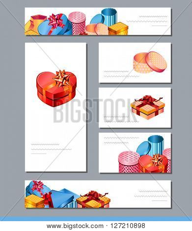 Templates with bright gift boxes.  For festive design, greeting cards, advertisement.