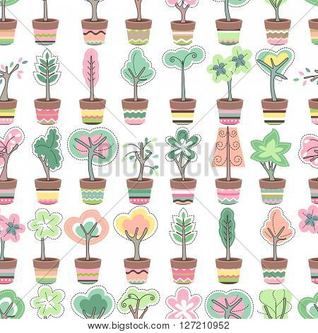 Seamless pattern with cute striped flower pots and growing topiary. Endless texture for your design, advertisement, posters.