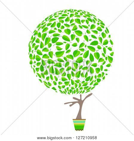 Stylized tree in cute flower pot. Topiary  made of small green leaves
