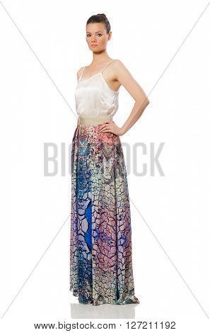 Beautiful girl in elegant long dress isolated on white