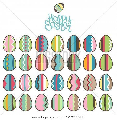 Easter spring set. Phrase Happy Easter, isolated painted eggs, Objects for your design, festive greeting cards,  posters.