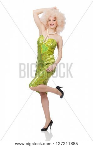 Woman wearing curly fair wig isolated on white