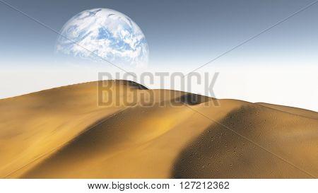 Amber Sand  Desert with Terraformed Moon or earth from terraformed moon or exoplanet 3D Render
