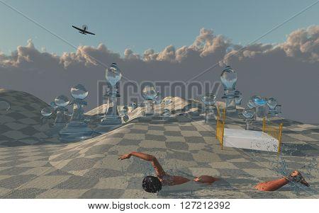 Woman swims through sands of surreal desert 3D Render