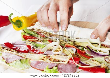 Healthy vegetables Salad Tortilla wraps with bacon