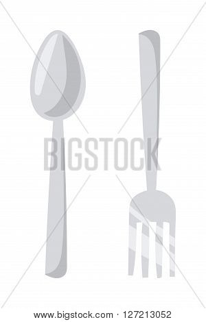 Silverware cutlery dinner dishware and kitchen cutlery silver tool. Cutlery equipment flatware dining tool. Cutlery set with fork, knife and spoon table restaurant silverware flat vector illustration.