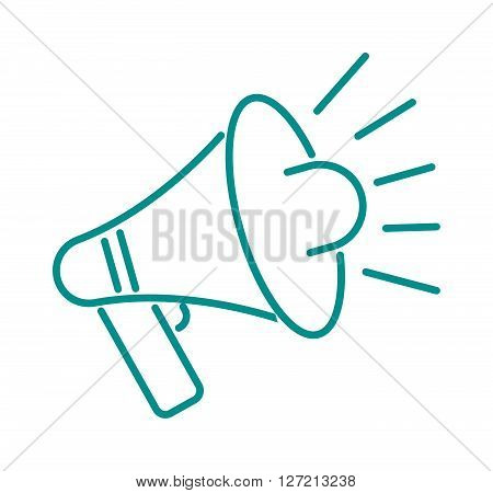 Megaphone design thin line and speech business megaphone icon vector. Thin line megaphone design loudspeaker cartoon vector illustration. Megaphone isolated