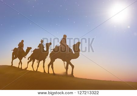 Three Wise Men Camels Desert Concept