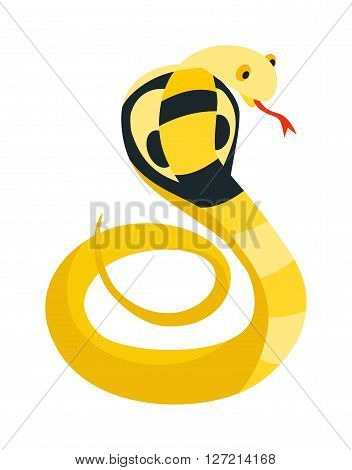 Cobra Snake coiled and ready to strike showing fangs tongue danger reptile animal wildlife cartoon vector. Yellow cobra snake and cobra wildlife danger poisonous asia scary snake dangerous viper.