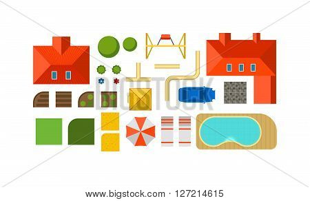 Landscape constructor plan private house courtyard, lawn and pool top view flat vector. Landscape constructor view from above colorful. Top view map city landscape constructor with streets and houses.