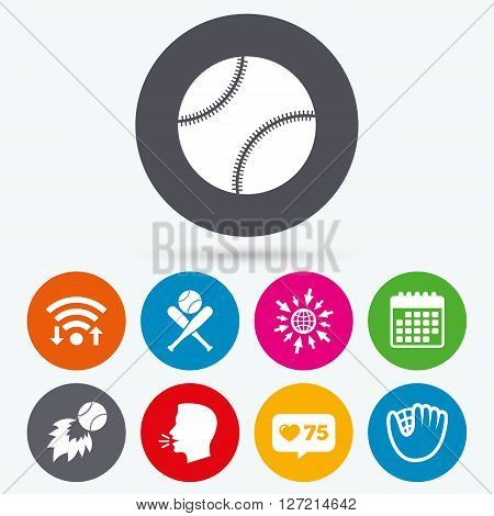 Wifi, like counter and calendar icons. Baseball sport icons. Ball with glove and two crosswise bats signs. Fireball symbol. Human talk, go to web.