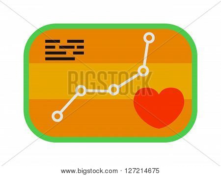 Heartbeat icon sport ecg concept load level vector. Form of heart and heartbeat with flat design element. Modern style sport ecg and load level sport with ecg line. Sports ecg badge heart level map.