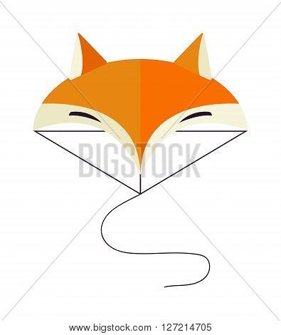 Fox face wild head cartoon style orange cartoon mammal portrait funny graphic vector illustration. Fox face beautiful mascot and brown forest fox face. Red wild nature fox face zoo character.
