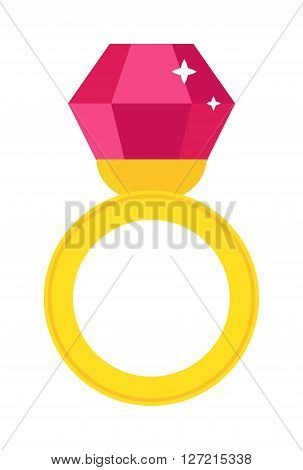 Precious ring with stone colored gems isolated on white background. Vector wedding rings icon. Flat design precious ring. Precious ring isolated. Isolated wedding jewelry.