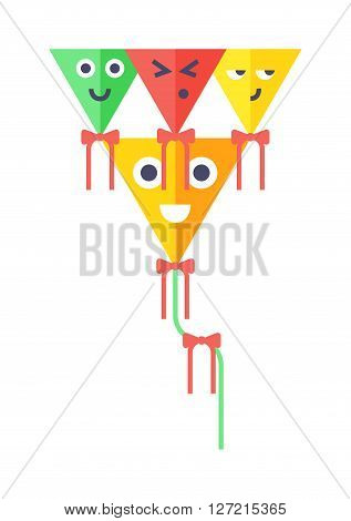 Summer kite and flying kite. Childhood playing freedom game kite and colorful fish kite hobby toy. Small flying rainbow colorful fish kite fun wind flying summer toy flat vector illustration.