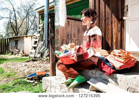 Woman Holding Washing