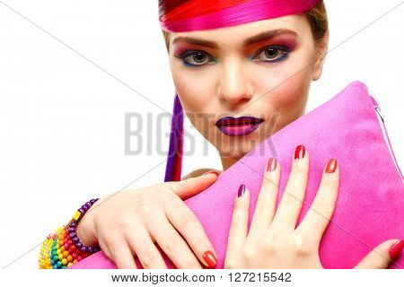 Beautiful girl with colorful makeup, manicure and hairstyle, , isolated on white